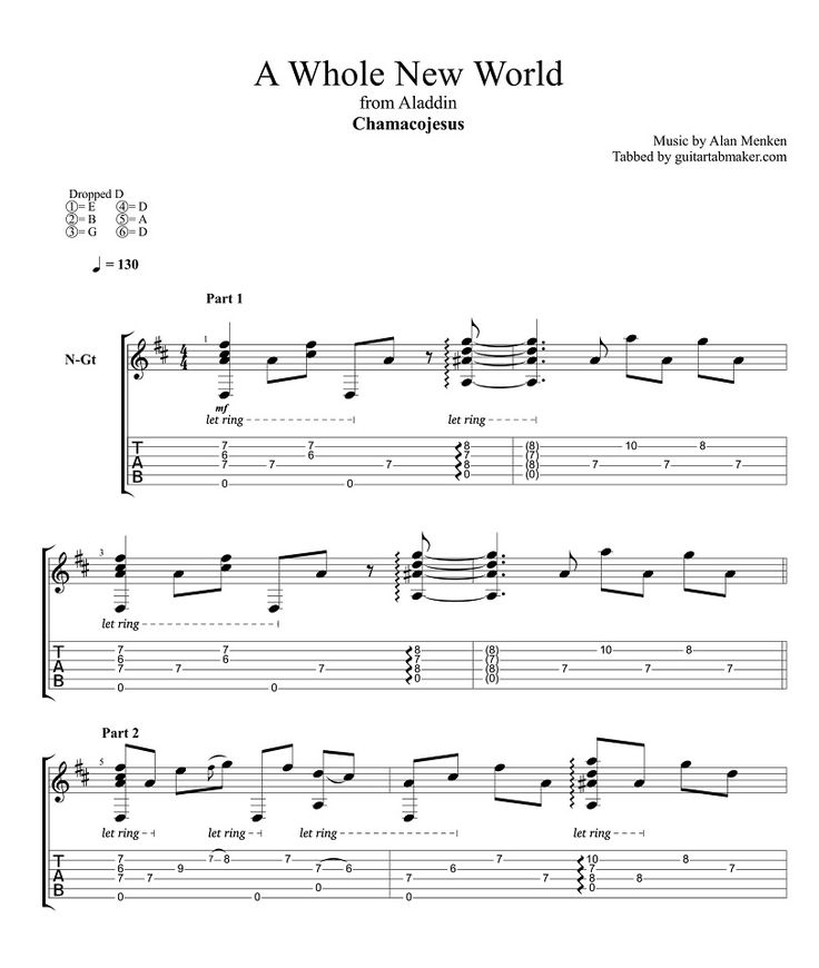 A Whole New World fingerstyle classical guitar tabs - acoustic fingerpicking guitar songs - pdf classical guitar sheet music download - guitar pro tab