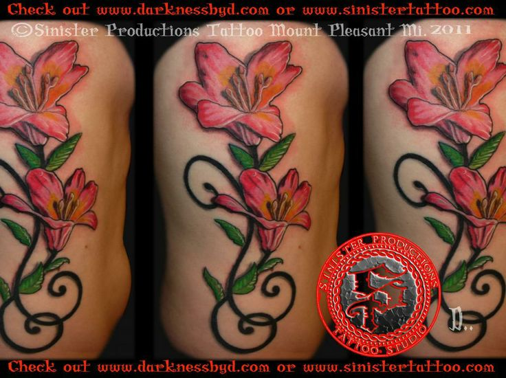 lily tattoos | Color lily flower side tattoo.jpg by Sinister Productions Tattoo ...