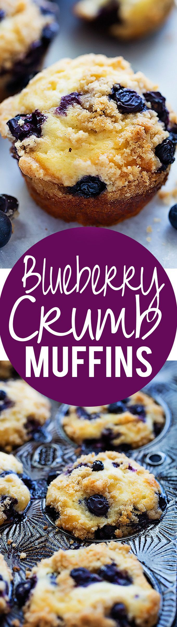 Blueberry Crumb Muffins - perfect, bakery-style super moist blueberry muffins made with GREEK YOGURT and a sweet and salty crumb topping!   Creme de la Crumb