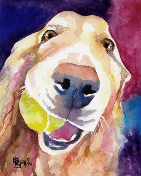 Golden Retriever Art Print - from original watercolor painting - 8x10 signed by artist - dog art. $12.50, via Etsy.