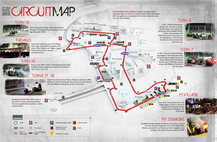 Suss out your sweet spot for the 2012 FORMULA 1 SINGTEL SINGAPORE GRAND PRIX with this Marina Bay Street Circuit guide