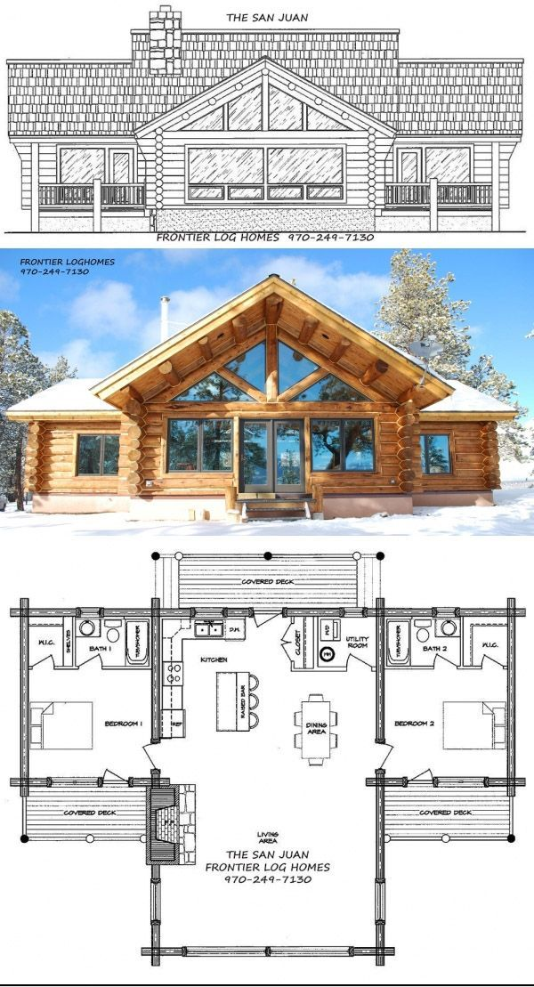 The San Juan Log Home Kit by Frontier Log Homes. -…