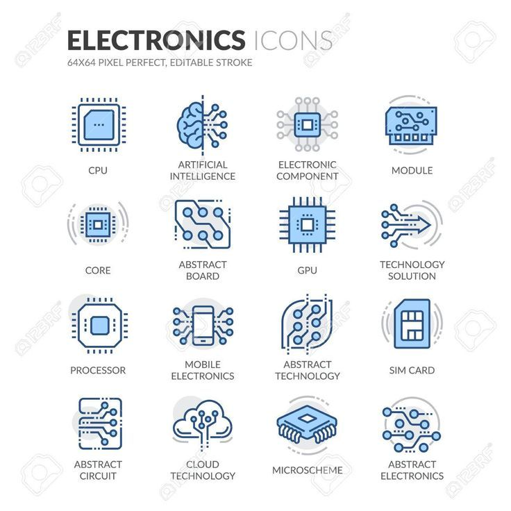 Ein Satz einfache Ikonen von bunten Vektorlinien bezog sich auf Elektronik. Enthält …   – Technologie