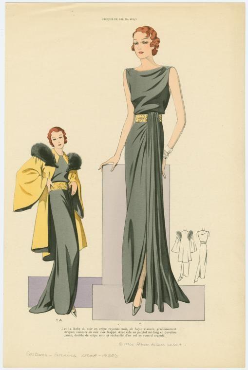 Robe du soir en crêpe rayonne noir, de façon élancée, gracieusement drapée, ceinture en cuir d'or frappé ; Avec cela un ... (193-)
