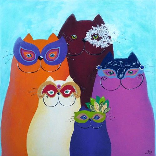 Painting with a bunch of cats, celebrate, while wearing their masks, Carnival in Venice. Cats in aubergine, purple, pink, orange and cream are beautiful on the blue background, painted with acrylic on canvas by the Dutch artist Sonja Kemp. This will be the eye catcher in every livingroom!