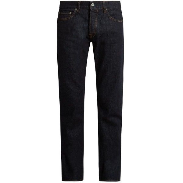 Stone Island Tapered-fit five-pocket jeans ($160) ❤ liked on Polyvore featuring men's fashion, men's clothing, men's jeans, blue, mens slim fit tapered jeans, mens blue jeans, mens tapered leg jeans, mens patched jeans and mens tapered jeans