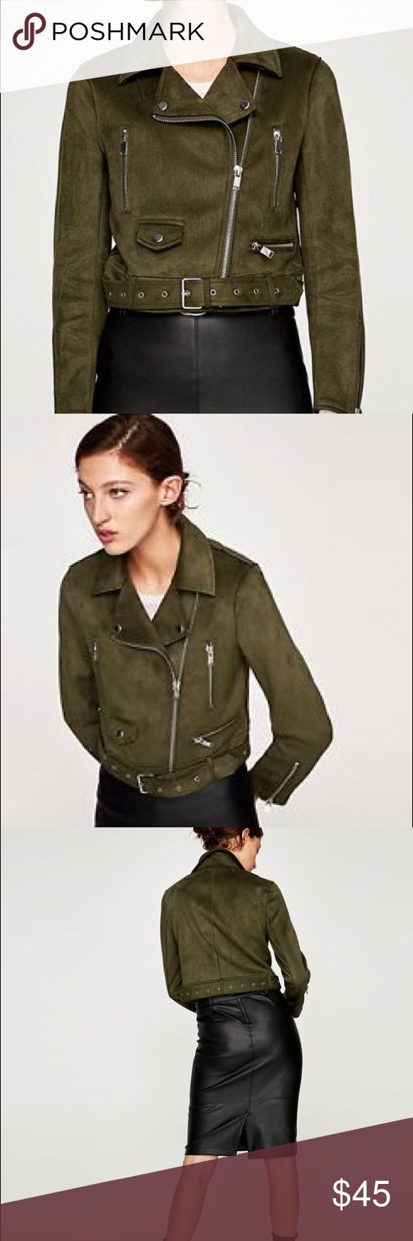 Faux Suede Biker Jacket Beautiful faux suede jacket from Zara. Never worn. New without tags. Zara Jackets & Coats