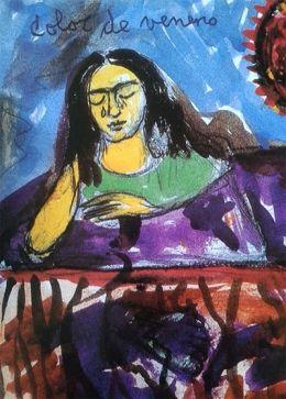 """FRIDA KAHLO Y EL COLOR Para Frida Kahlo, y más allá de su trágica historia, el color es un instrumento total: a veces lo encontramos en una explosión de vitalidad _ como en Viva la Vida _, y otras, en cambio, es la pura imagen de la amargura. Así es en este dibujo que podéis encontrar en la edición facsímil de su diario. """"Color de veneno"""": los amarillos, los azules, los verdes, los morados...hablan por sí mismos.  http://www.museofridakahlo.org.mx/"""