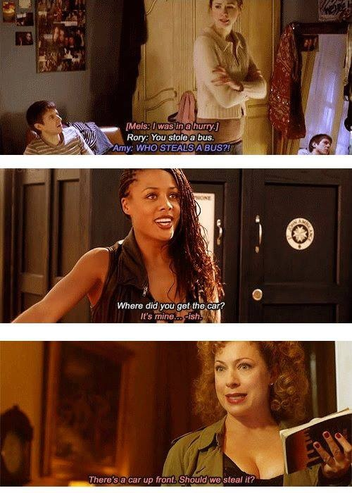 a car-stealing, gun-shooting, lipstick-poisoning, flirtatious human-time-lord wife of Doctor, who can never die .... also a Professor! freaking PERFECT!