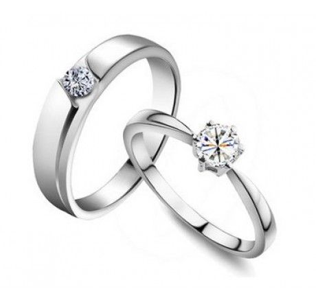 Tiamo Couple Ring / Engagement Ring / Wedding Band - Material: 925 sterling silver + finest grade of cubic zirconia - Female Ring Size: US 5 - 8 - Male Ring Size: US 7 - 11 - Price: $48 free worldwide shipping