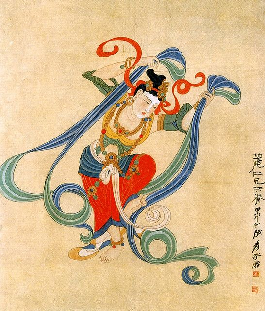 张大千-敦煌舞伎 dunhuang buddhist art