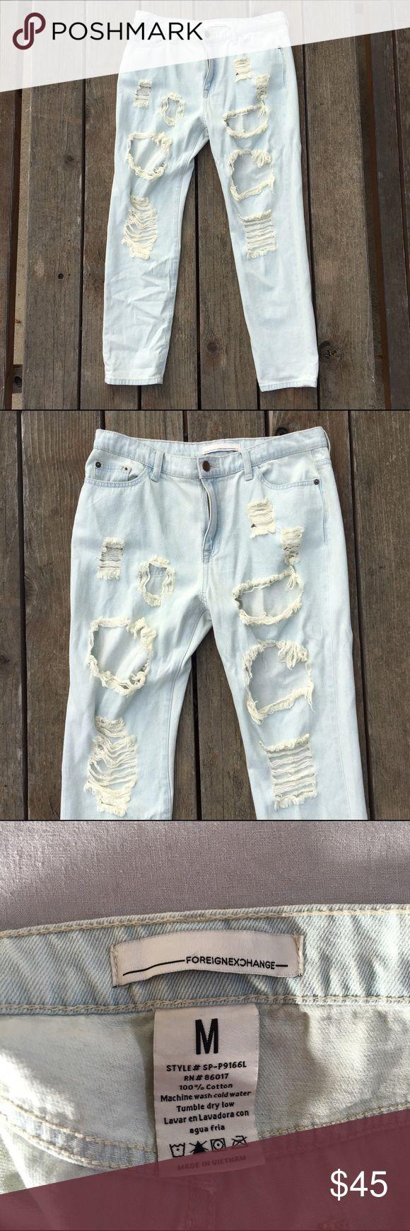 NWOT Foreign Exchange Boyfriend Fit jeans Distressed loose fitting boyfriend style jeans. Never worn!! Fits size 27-28 jeans. NWOT! Foreign Exchange Jeans Boyfriend