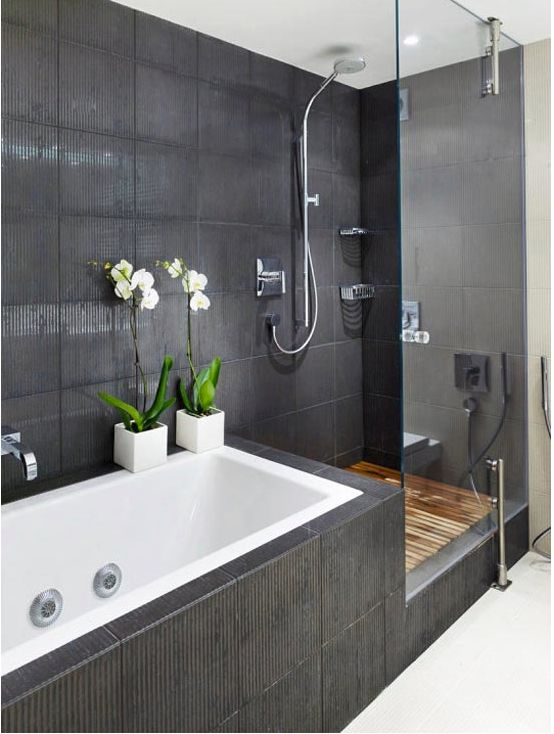 Love this layout for separate bath and shower! Is wood an option for a shower? Love it!