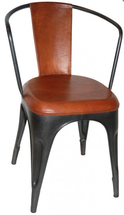 Stålstol med karm - Lädersits i gruppen Sittmöbler / Stolar hos Reforma Sthlm  (m01056)