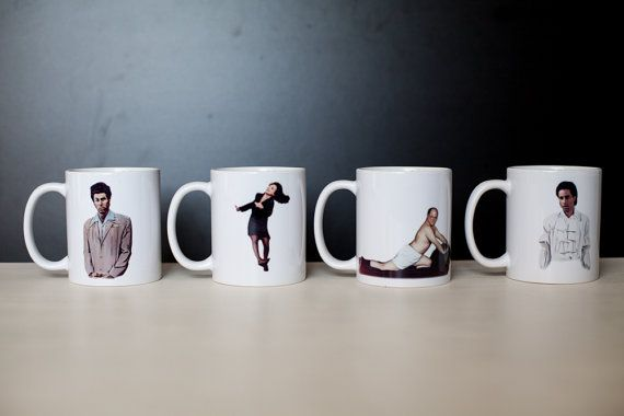 Set of Four Seinfeld Characters Mugs by grannyratdesign on Etsy