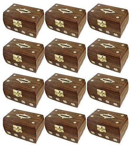 Ensemble de 12 – boîte à trésor d'argent de la poitrine – boîte d'argent sûres caisses d'épargne sculpture en bois faits à la main – grande…