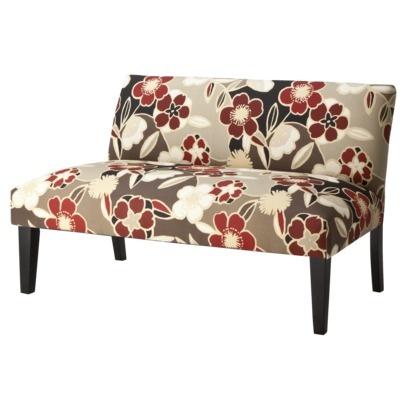 avington upholstered settee loveseat red floral