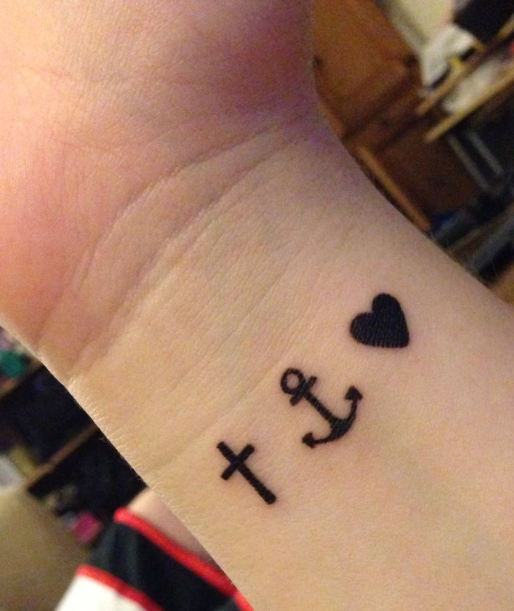 Anchor for strength, cross for faith, heart for love. But going vertical down the side of my wrist.