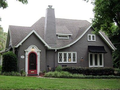 Gray Stucco And Black Awning What A Precious Cottage