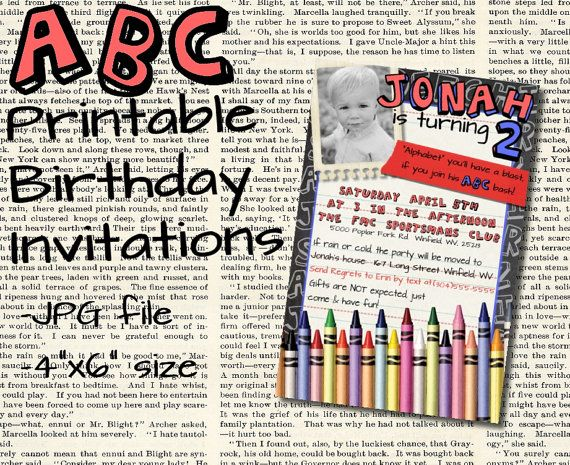42 best owens 4th birthday images on pinterest 4th birthday abc printable alphabet themed birthday party invitation would work for a school themed birthday party thecheapjerseys Choice Image