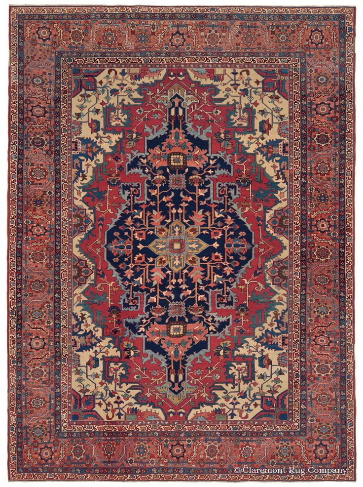 """Serapi - 9'-5""""x 12'-10"""", Circa 1875. Departing from the traditional antique Persian Serapi format, this best-of-the-best art antique carpet boasts tremendous clarity in its execution of design & notable purity in its saturated color hues, especially in its forest green, gold & rose tones. The elongated medallion of this masterfully hand knotted antique Oriental rug is architectural in its rendering & distinctively pronounced against the more organic design of the field, corners & borders."""