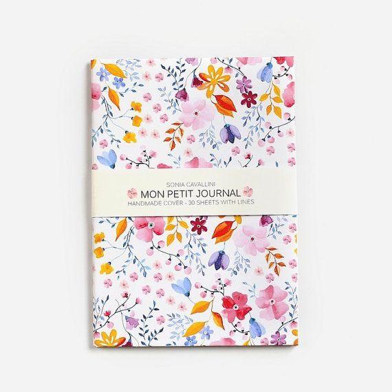 Notebook, journal, diary,christmas gift, floral, A6, handmade, stationery, carnet, rose, fleurs, journal intime, papergoods, cadeau noel