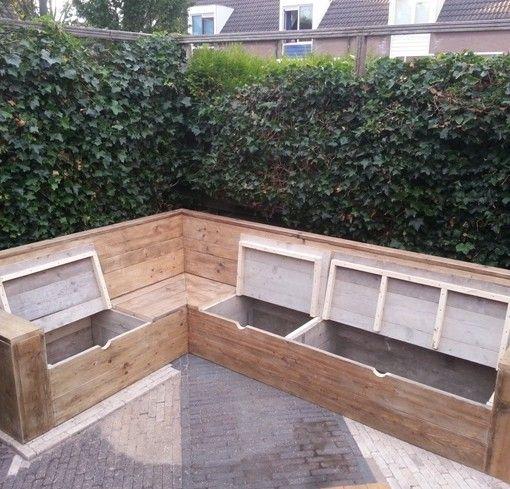 hoekbank tuin hout opbergruimte - Google zoeken