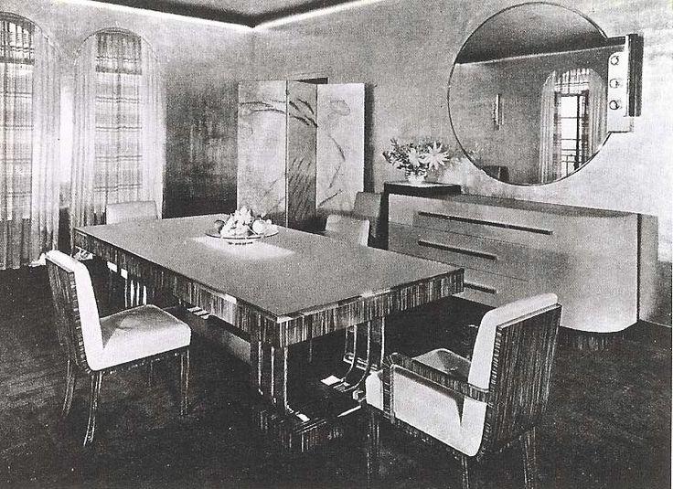 American Art Deco/ Donald Deskey, dining room for Abbey Rockefeller Milton/ Дональд Дески, столовая для Эбби Рокфеллер Милтон (РОКСИ), Манхэттен, 1934 –серебряные стены,  стол и крессла из макассарского черного дерева , обивка стульев из белой кожи