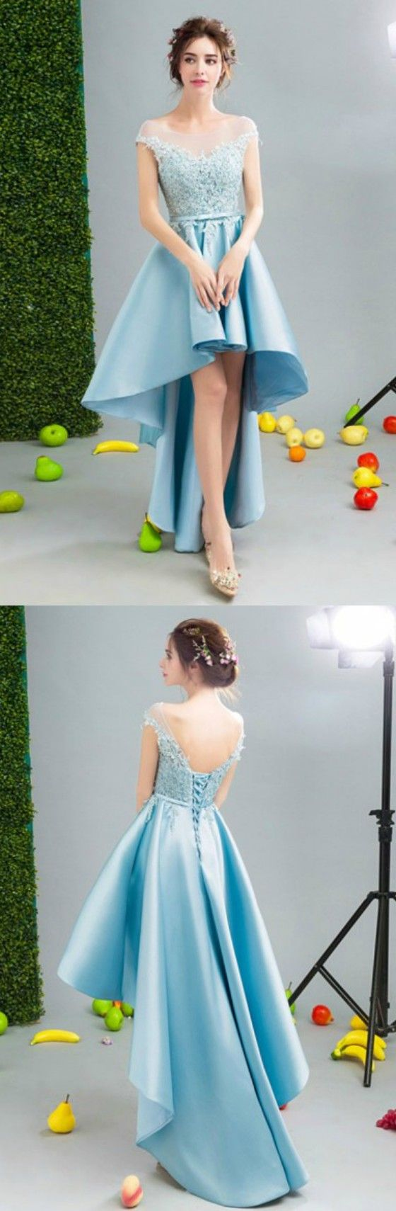 Blue Ball-gown Scoop Neck High Low Satin Formal Dress Homecoming Dress Prom Dress With Appliques Lace