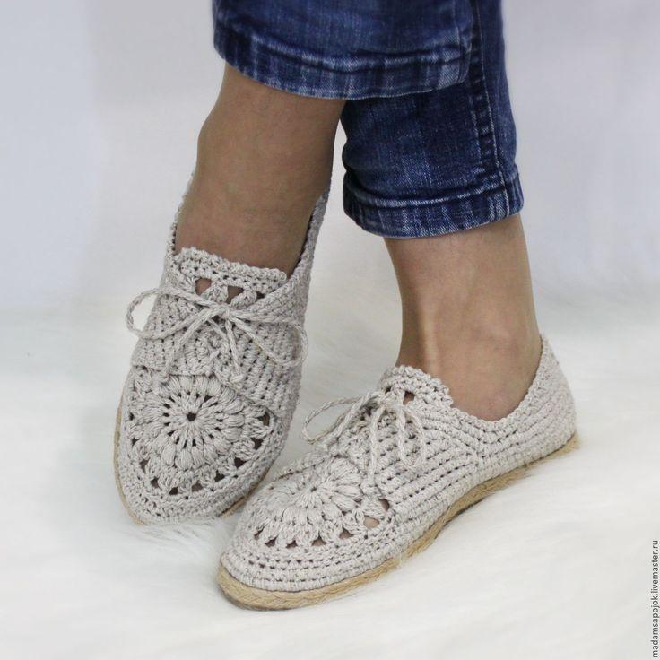 Купить Мокасины льняные - бежевый, льняная обувь, летняя обувь, вязаная обувь, льняные мокасины