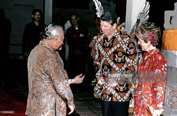 President Ronald Reagan wearing custom Indonesian batik