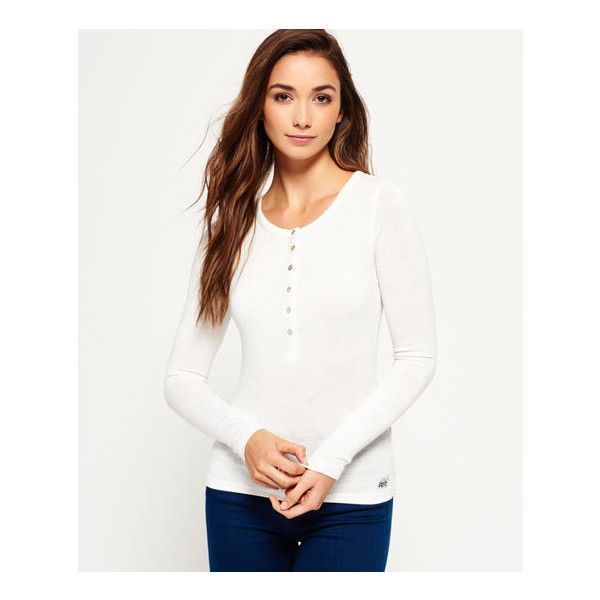 Superdry Super Sewn Twist Yarn Grandad Top ($30) ❤ liked on Polyvore featuring tops, cream, white long sleeve top, logo top, cream top, cream long sleeve top and long sleeve tops
