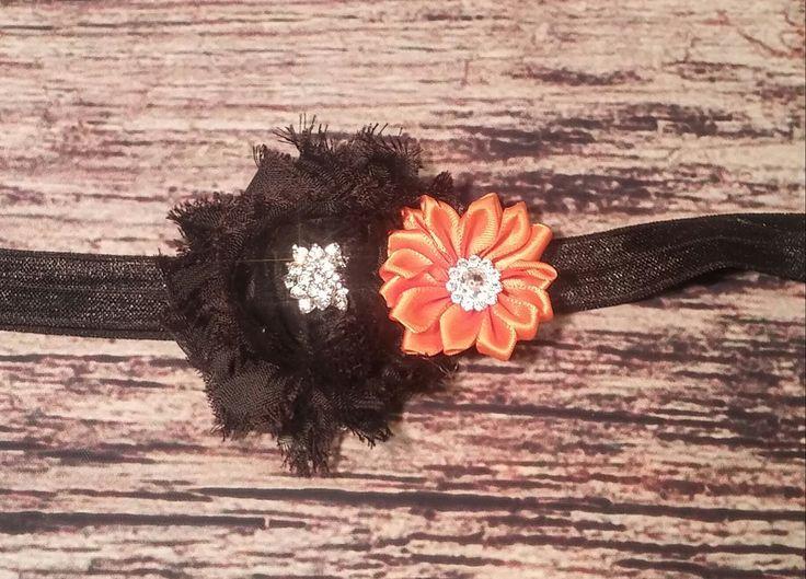 Halloween Black Shabby And Orange Satin Rhinestone Flower Baby Girl Headband!  $4 @ Chandrasbowtique.com