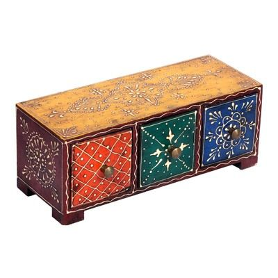 Wooden Vertical Three Drawer Stand With Hand Embossed Painted By Surface 180 Festive Decor on Shimply.com