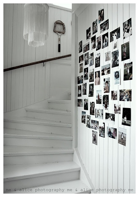 family photo wall...no frames-simple, inexpensive