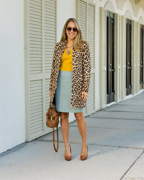 Leopard coat, mustard sweater, mint pencil skirt