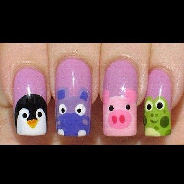 #animal #nails #pinguin #nijlpaard #pig #frog #purple #nailpolish #nailart #nail