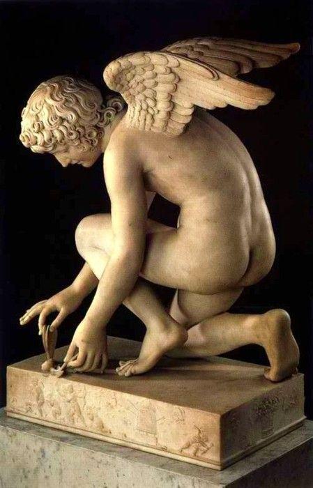 Antoine-Denis #Chaudet ( 1763-1810 ) Cupid Catching a Butterfly, #Paris, 1817, musée du #Louvre