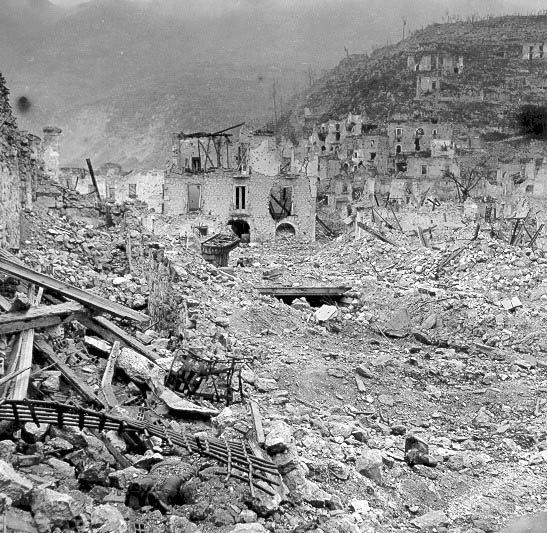 Ruins of the Town of Cassino, Italy, April 1944. The Battle of Monte Cassino (also known as the Battle for Rome and the Battle for Cassino) was a costly series of four WWII battles fought by the Allies between January 17, 1944 and May 19, 1944. The Allies intent was to break through German lines and seize Rome. These operations resulted in casualties of over 54,000 Allied and 20,000 German soldiers and destroyed the historic abbey of Monte Cassino and the town below.