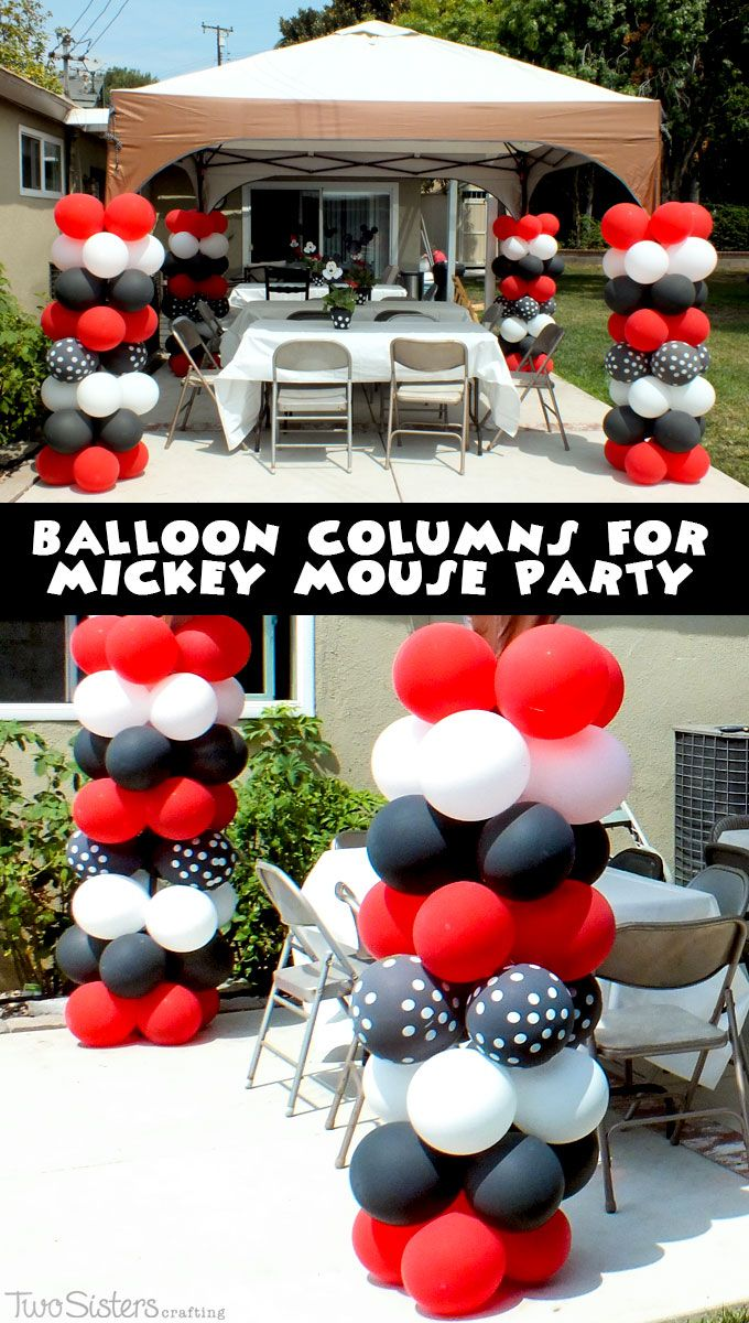Step by Step instructions for creating a Balloon Column for a Mickey Mouse Birthday Party.