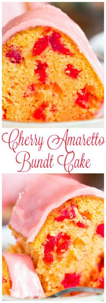 This Cherry Amaretto Bundt Cake features TWO jars of maraschino cherries, a strong splash of maraschino cherry juice, and a heavy pour of amaretto. This cake is so moist, soft, and rich. The cherry-amaretto glaze on top seeps and soaks into every nook and cranny!