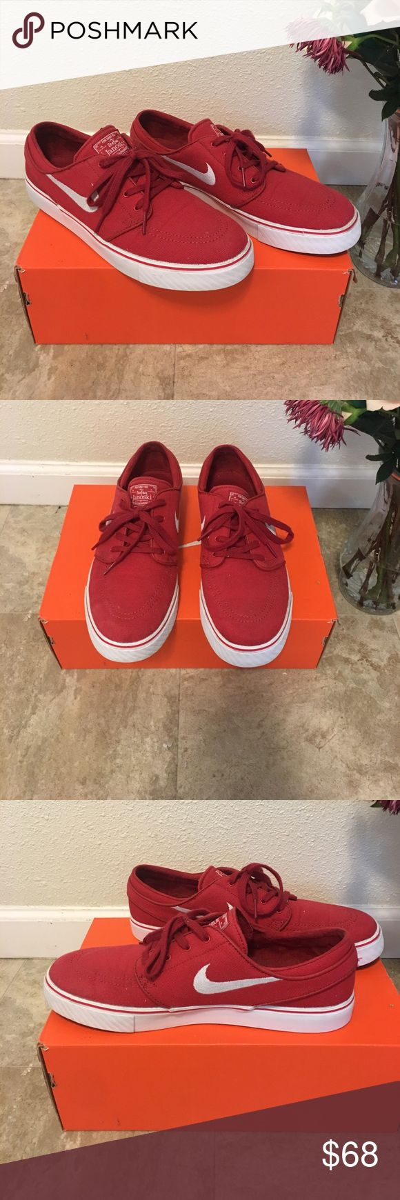 Red Nikes! Stefan Janoski's! Worn only a few times Red Nikes. Stefan Janoski's Nike skateboarding company line! Only worn a few times, otherwise just sitting in a shelf! Men's size 10.5. Nike Shoes Sneakers