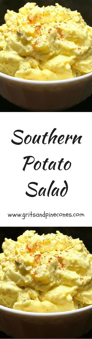Easter Dinner, potlucks, and picnics wouldn't be the same without a tasty helping of potato salad, and this best recipe for Classic Southern Potato Salad which includes russet potatoes, eggs, mustard and pickles is easy and delicious! #southernpotatosalad, #southernpotatosaladrecipe, #easysouthernpotatosalad, #bestpotatosalad, #potatosaladrecipe via @gritspinecones/