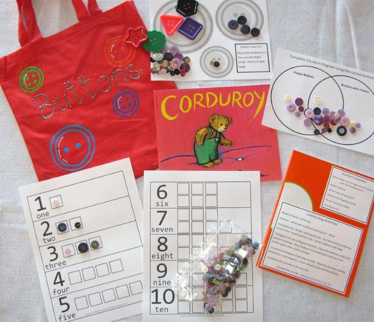 Buttons literacy bag