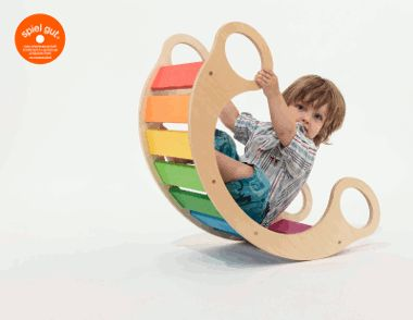 "The rainbow rocker is a ""play furniture"" with lots of different ways to enjoy.  Designed and produced in Germany."