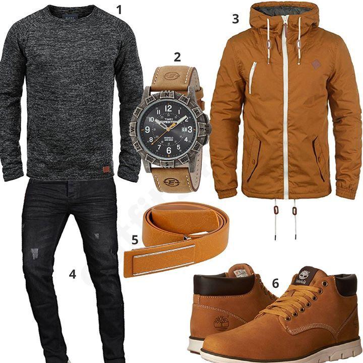Männer-Outfit mit anthrazitem Blend Pullover, Solid Übergangsjacke, Gürtel, halbhohen Timberland Boots, A. Salvarini Jeans und Timex Armbanduhr.