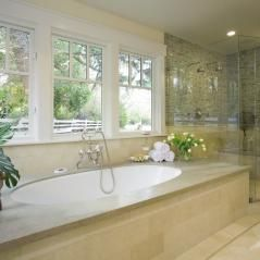 Love the windows, the two headed shower.  Just need to add steam to the shower and jets to the tub.
