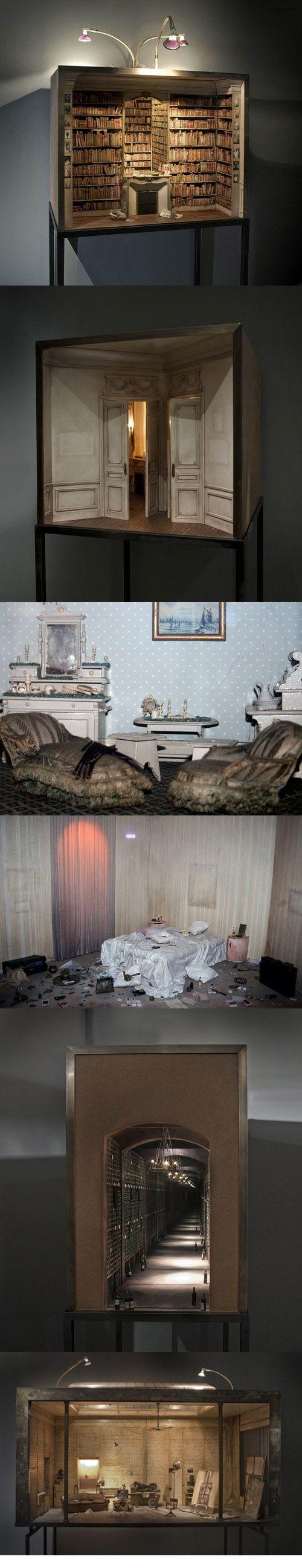 Enclosures :: Handmade miniature interiors  ( by Charles Matton ) I love the little wine cellar :)
