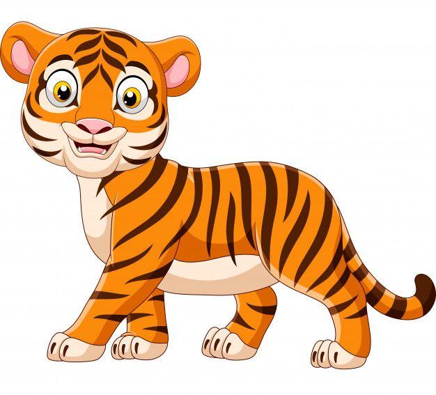 Tigre De Bebe Dos Desenhos Animados Isolado No Fundo Branco Cartoon Cartoon Desenhos Animados Desenhos