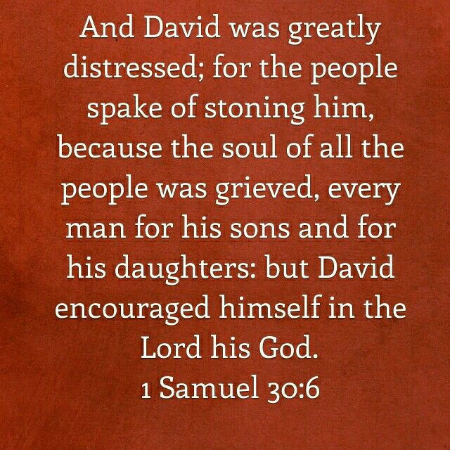 "David was stressed as a military leader, but ""David found strength in the Lord"". In our stressful work situations, may we find the same strength!  1 Samuel 30:6     #TakingCareOfBusiness #WorkForHisPurpose #WorkWithJoy"